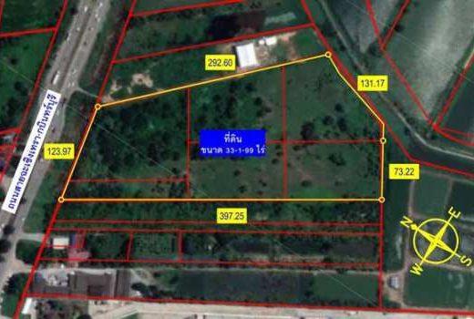 ขายที่ดิน 33 ไร่ 199 ตร.วา ติดถนนสาย 304 ฉะเชิงเทรา-กบินทร์บุรี(8 เลน) ใกล้ อบต.เสม็ดใต้
